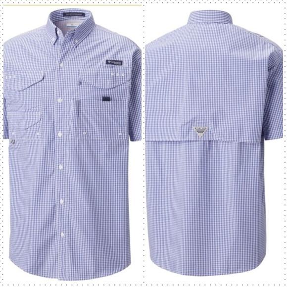 Columbia PFG Mens XL Super Bonehead Green Plaid Long Sleeve Fishing Shirt
